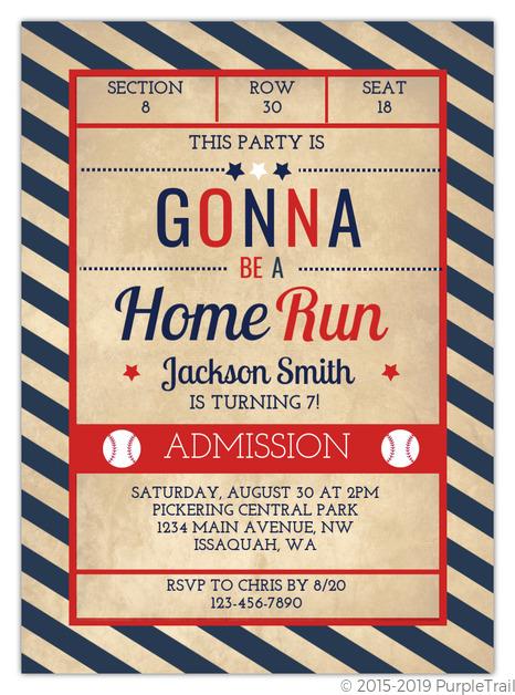 Red And Blue Baseball Birthday Invitation