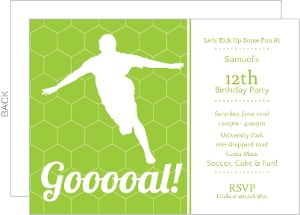 Custom soccer party invitations and invites green goooal soccer party invitation filmwisefo Image collections