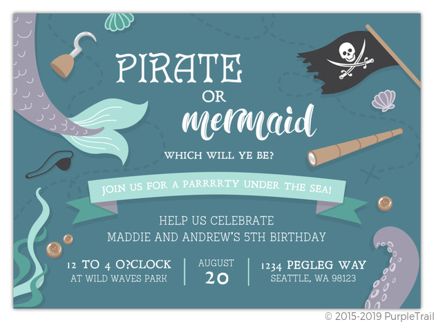 Pirate Treasure Birthday Party Invitations