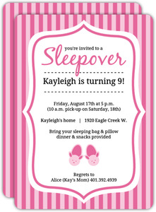 Pretty In Pink Bunny Slippers Slumber Party Invite
