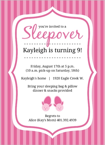 Pretty In Pink Bunny Slippers Slumber Party Invite Kids Birthday