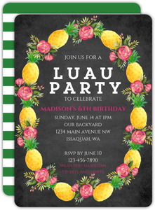 Pineapple Floral Wreath Birthday Invitations