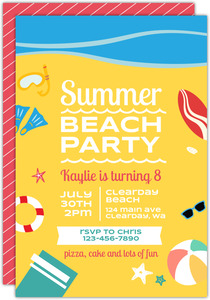 Fun Summer Beach Party Birthday Invitation