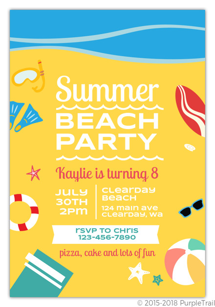 fun summer beach party birthday invitation kids birthday invitations