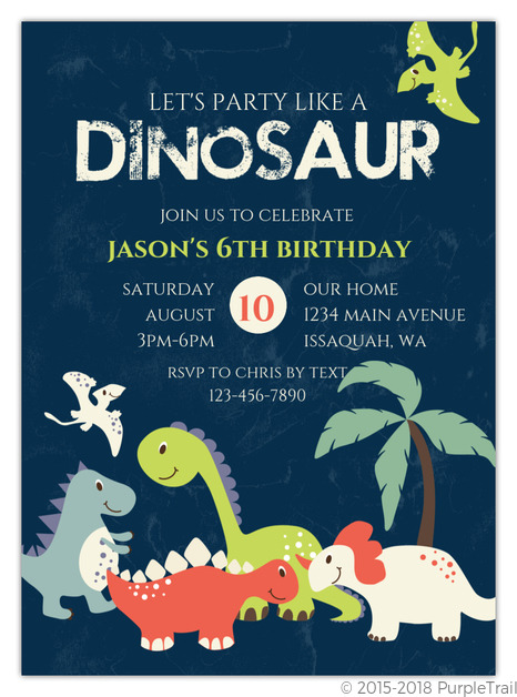 Friendly Dinosaurs Birthday Invitation