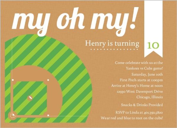 green and brown diamond baseball party invitation kids birthday