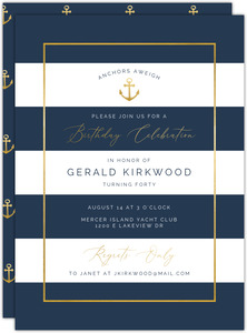 Faux Gold Anchors Nautical Birthday Invitation
