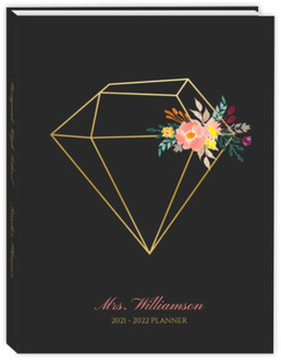 Faul Gold Diamond Floral Teacher Planner