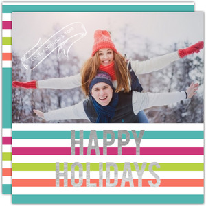 Retro Stripes Foil Holiday Photo Card