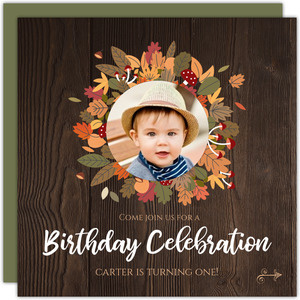 Autumn Leaves Wreath Kids Birthday Invitation