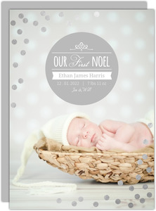 Silver Foil Confetti First Christmas Photo Card
