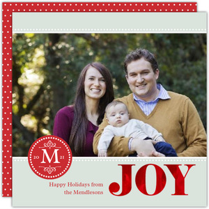 Red Monogram Joy Christmas Photo Card