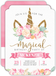Magical Watercolor Unicorn Birthday Party Invitation