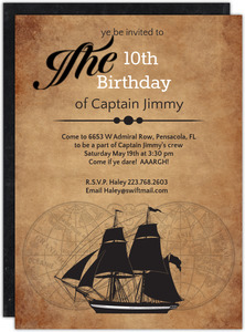 Pirate Ship Sailing Birthday Party Invitation