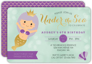 Purple Mermaid Princess Birthday Invitation