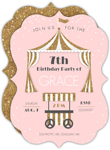 Faux Glitter & Pink Tent Birthday Invitation