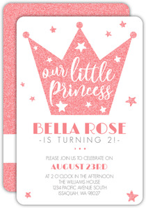 Faux Pink Glitter Princess Crown Birthday Invitation