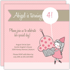 Pink With Gray Stripe Princess Party Invitations
