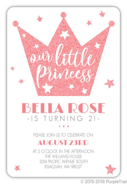 Faux Pink Glitter Princess Crown Birthday Invitation Princess