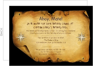 Treasure Map Pirate Party Invite