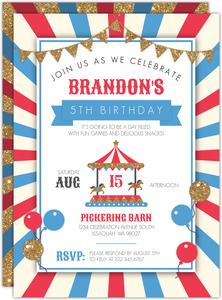 Red & Blue Balloons Kids Birthday Invitation