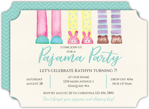 Cute Slippers Slumber Party Birthday Invitation