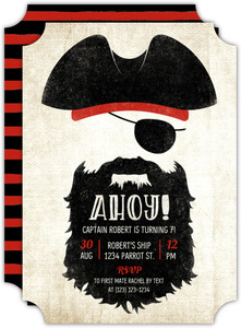 Ahoy Blackbeard Kids Birthday Invitation