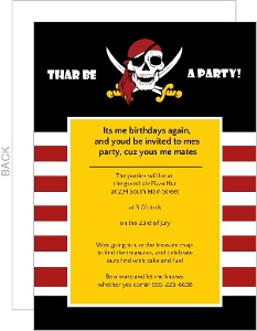 Black Red And Yellow Pirate Skull Party Invitation