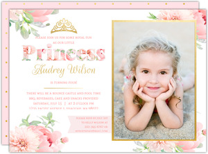 Delicate Pink & Gold floral Princess Party Invitation