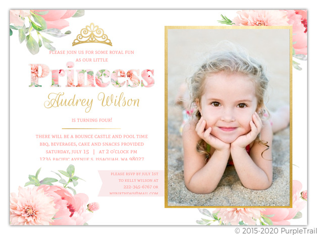 Delicate Pink Gold Floral Princess Party Invitation