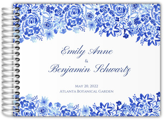 Cascading Handpainted Floral Wedding Guest Book