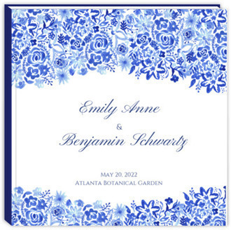 Cascading Handpainted Floral Sewn Wedding Guest Book