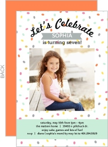 Colorful Confetti Kids Birthday Party Invitation