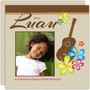 Pink And Brown Kids Birthday Luau Invitation - 2088
