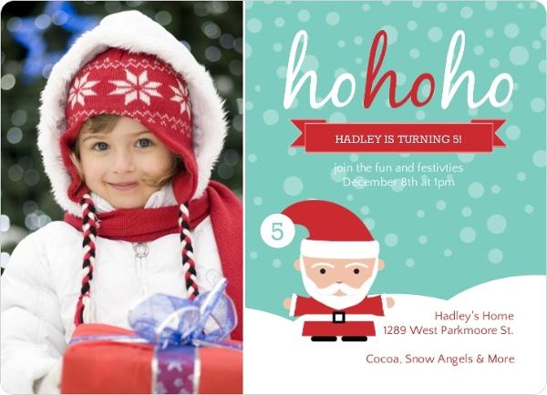 Whimsical Santa Kids Winter Birthday Invitation