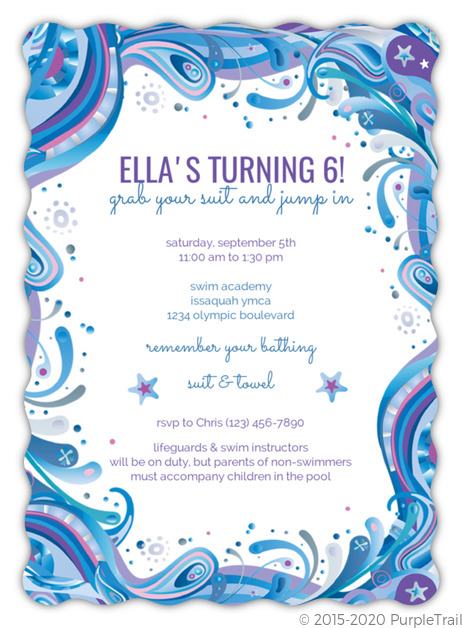 Blue Swirly Swim Party Invitations