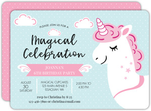 Pink And White Unicorn Birthday Invitation
