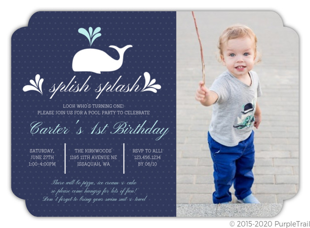 Whale Splish Splash First Birthday Party Invitation