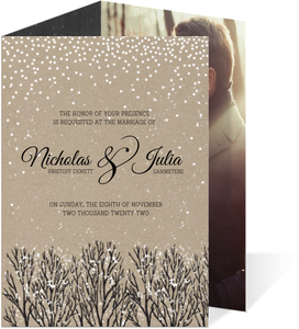 Rustic Krafty Winter Trifold Wedding Invitation
