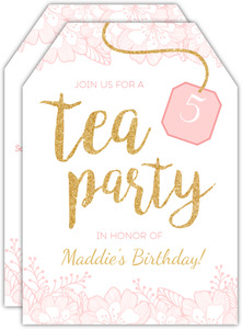 Pink and Faux Glitter Tea Bag Tea Party Birthday Invitation