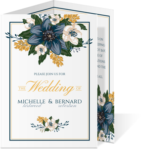 Modern Blue Floral Trifold Wedding Invitation
