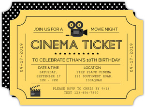 Cinema Ticket Movie Night Invitation