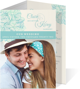Romantic Watercolor Florals Trifold Wedding Invitation