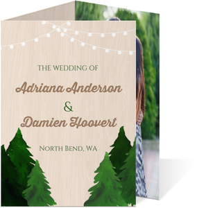 Rustic Woodgrain Evergreen Tree Trifold Wedding Invitation