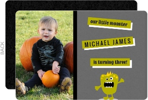 Gray And Green Photo Monsters Set Halloween Birthday Invitation