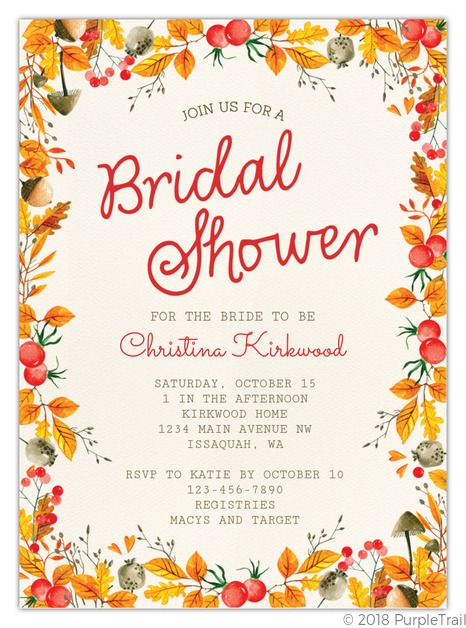 graphic regarding Printable Bridal Shower Invitations titled Autumn Foliage Body Printable Bridal Shower Invitation