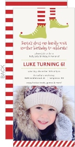 Red Festive Elf Feet Kids Birthday Invitation