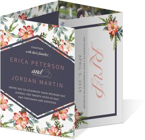 Delicate Watercolor Floral Accordion Wedding Invitation