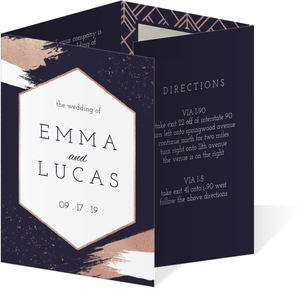 Faux Rose Gold Modern Brushstroke Accordion Wedding Invitation