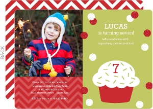Green and Red Cupcake Holiday Birthday Invitation